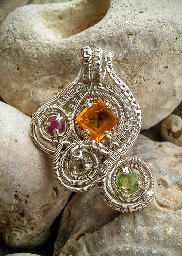 Topaz,ruby, peridot wire wrap