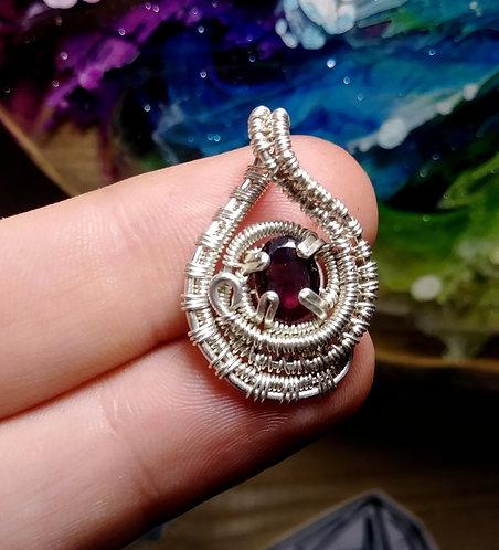 Little garnet wire wrapped pendant