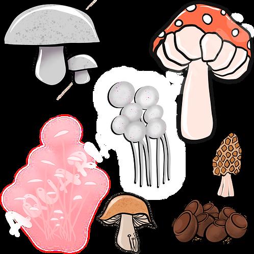 Mushroom digital sticker pack
