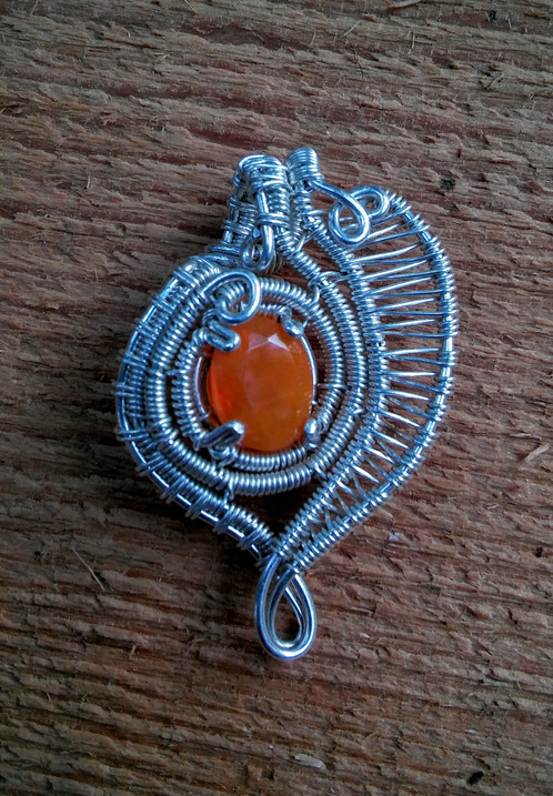 sterling silver wire wrap with Ethiopian opal
