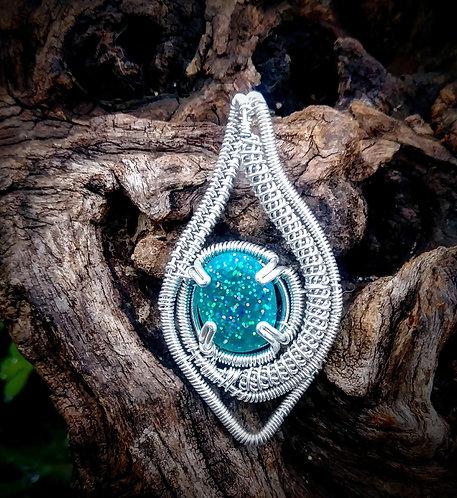 Blue sparkle wire wrapped pendant