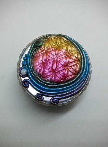 Rainbow flower of life moon jar