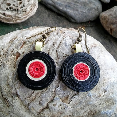 Paper quilled record earrings