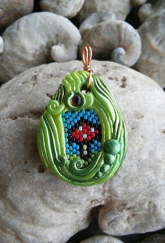 polymer clay and peyote stitched pendant