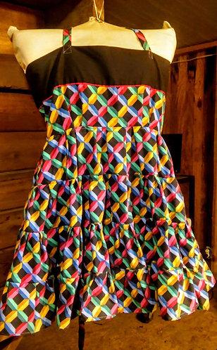 Rainbow xl-2xl corset back dress