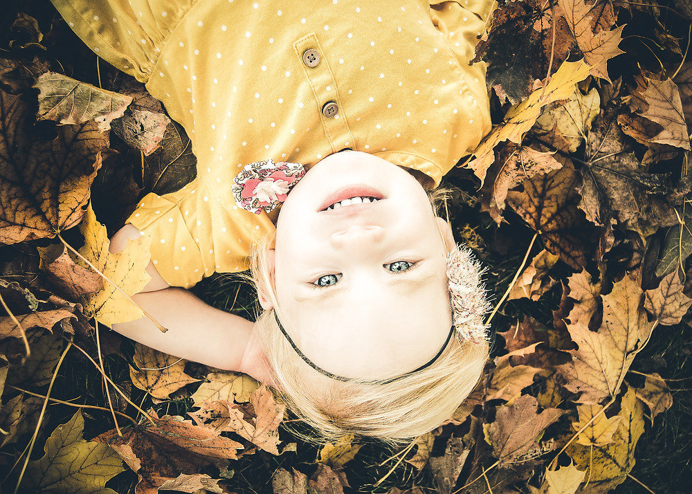 Fall Child Portrait with Leaves