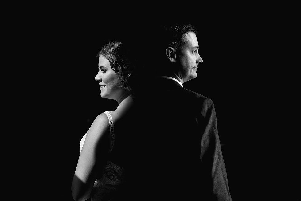 Creative Black and White Bride and Groom
