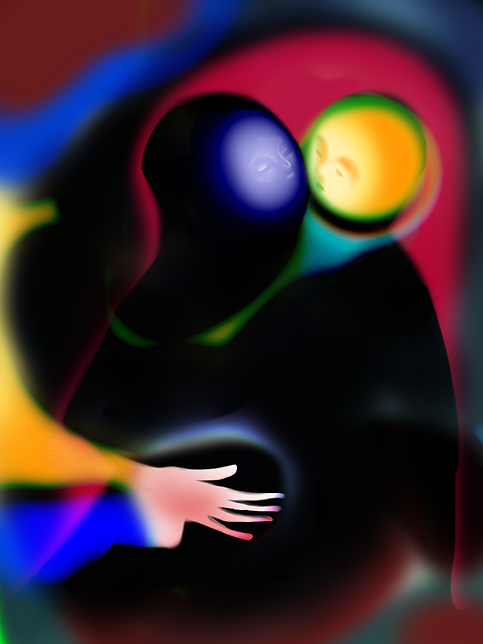 Digital picture from pablo losa fotangordo made with iphone 7 portrait of two figures close by each other inspired by the encounter of hildebrand in the tower staircase