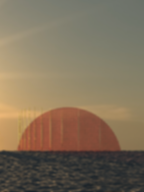 frontal render view of the Red setting Sun of Mirage installation in Woodbine Beach in Toronto, Canada. project by architect pablo losa fontangordo