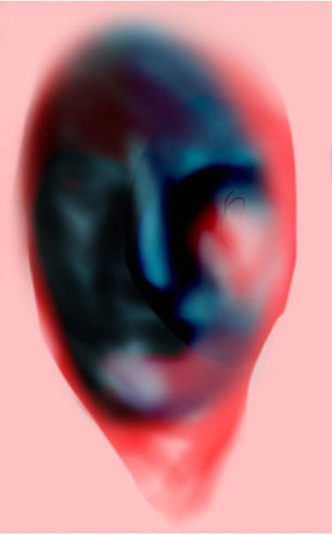 Digital picture from pablo losa fotangordo made with iphone 7 a potrait of her mother in blue dark and pink peachy tones the picture looks out of focus
