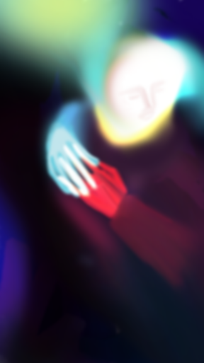 Digital picture from pablo losa fotangordo made with iphone 7 it's a man with his red hand holding another person's hand in a dark yet coloful backround