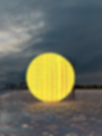 frontal render view of the yellow Sun of Mirage installation in Woodbine Beach in Toronto, Canada. project by architect pablo losa fontangordo