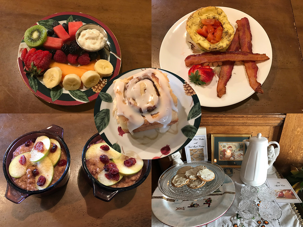 Multiple plates with different breakfast items and cookies.