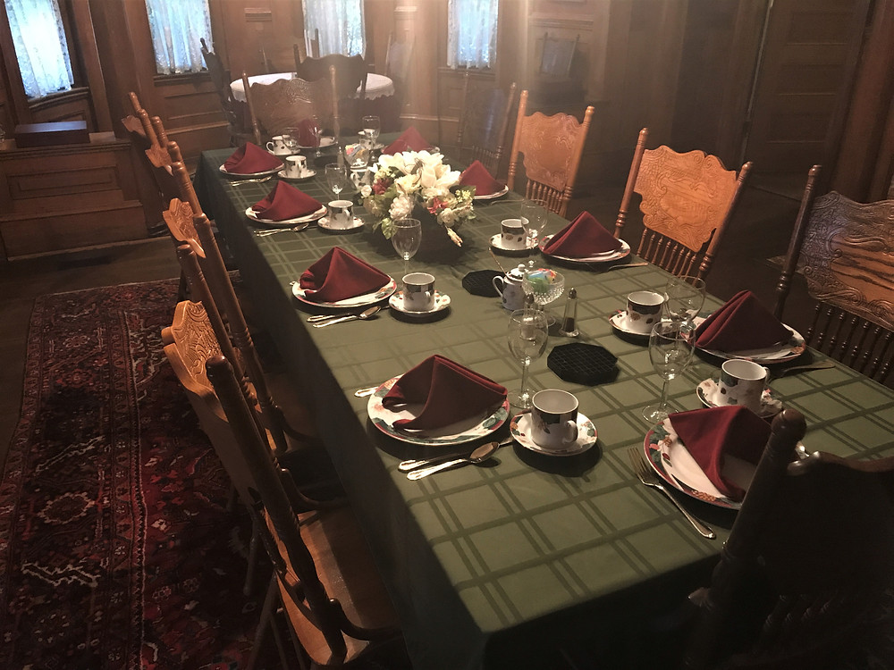 Dining room table set for breakfast