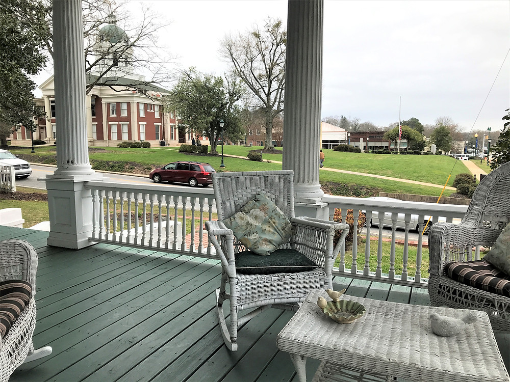 Looking out from the front porch at Simmons-Bond.