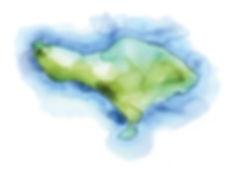 hand drawn watercolour map west bali