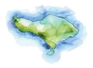 hand drawn watercolour map of bali, west bali, bali off the beaten track