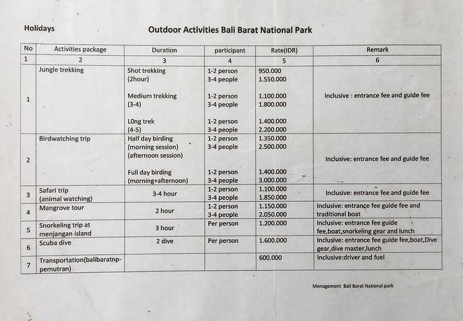 West Bali National Park fees Aug 2020.jp