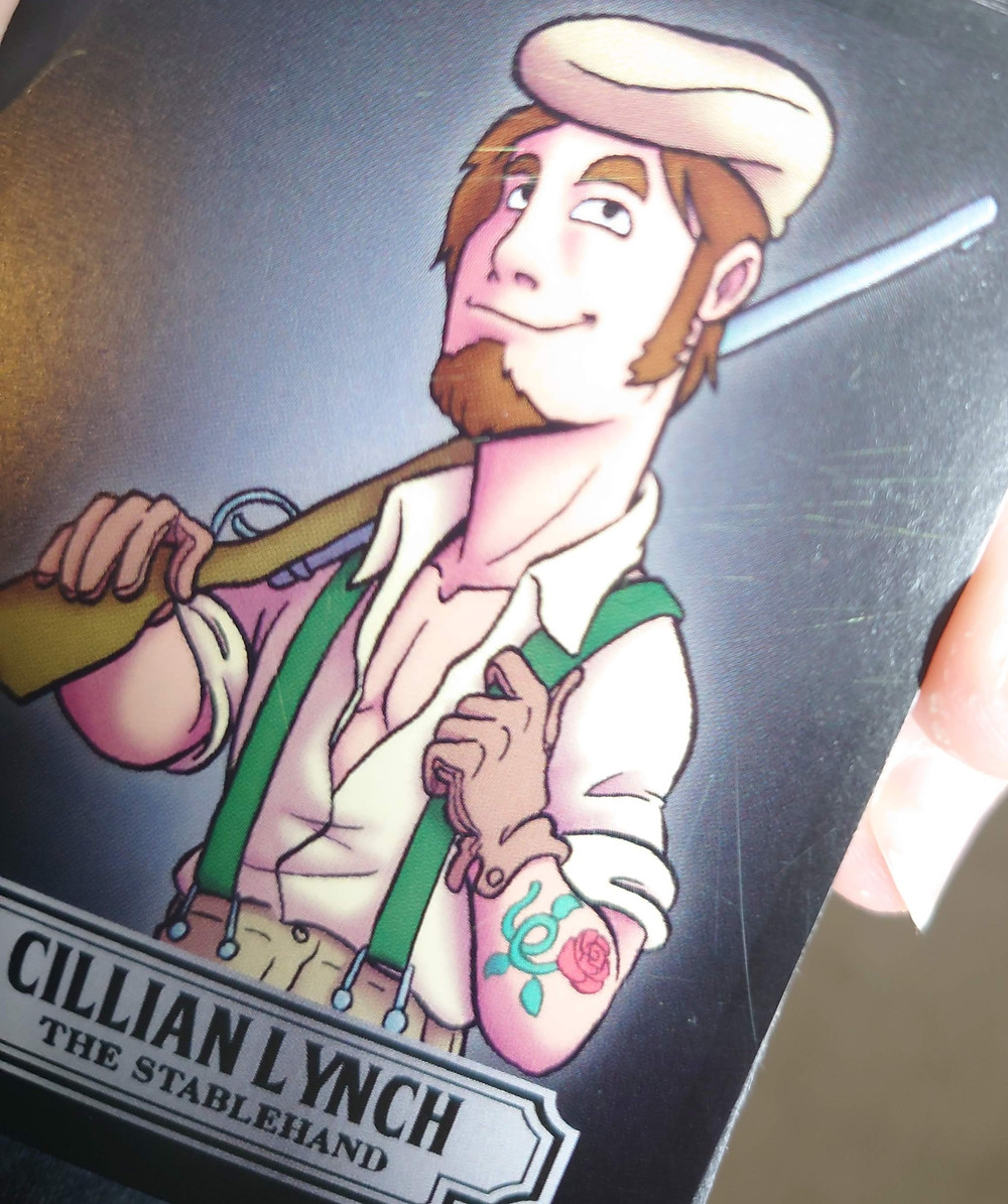 A playing card picturing an adult character named Cillian Lynch. Show on the right of the image are scratches to the card's surface.