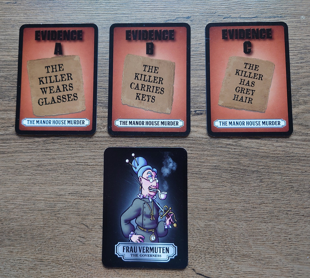 """A row of three cards titled """"Evidence A"""", """"Evidence B"""", """"Evidence C"""". Evidence A reads """"The killer wears glasses"""", evidence B reads """"The killer carries keys"""", evidence C reads """"The killer has grey hair"""". Below these three cards is a character card, showing a woman who is wearing glasses, carrying keys and has grey hair."""