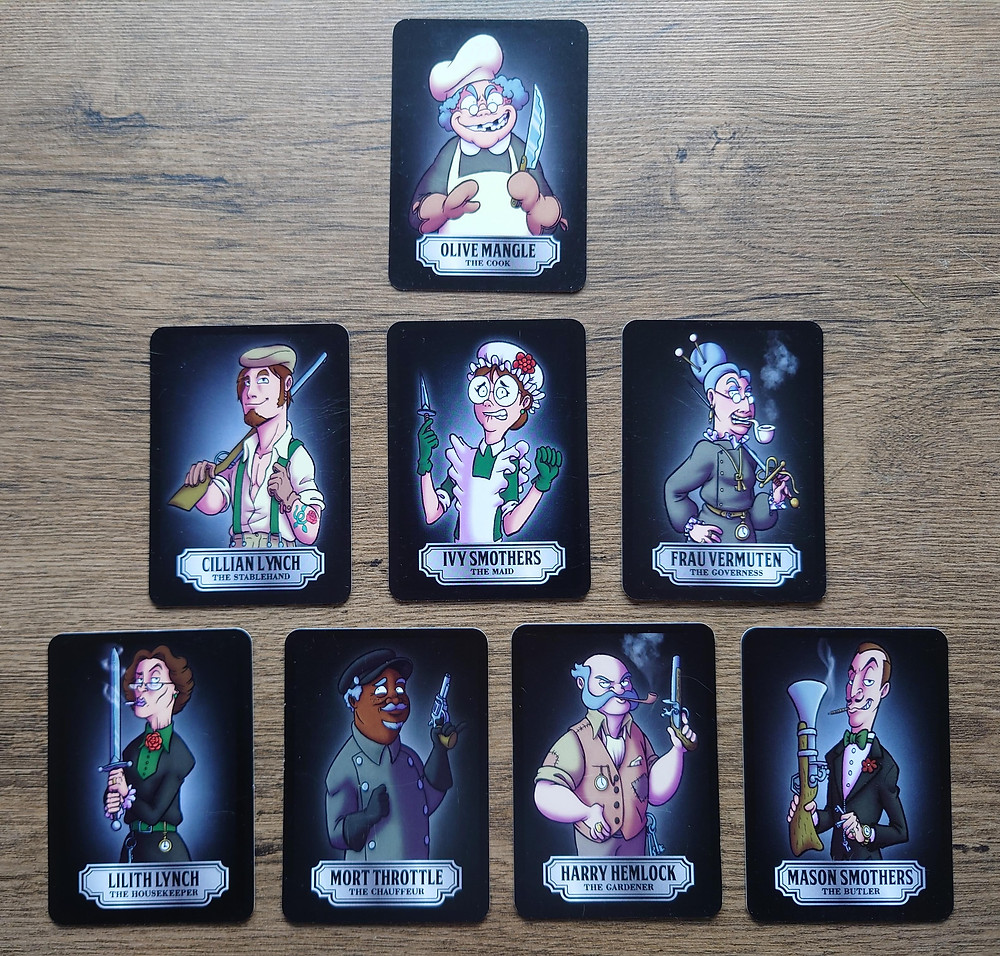Eight cards showing the characters of the game. Four male-presenting characters, four female-presenting characters.