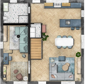Floor plan of the ground floor of a house, featuring an open kitchen, dining and living space, a home office and a bathroom