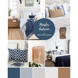 Coastal bedroom interior design colour palette
