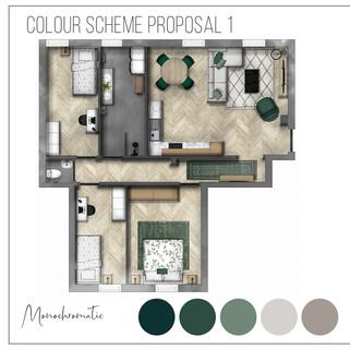 Colour scheme 1 - Green and blush interior
