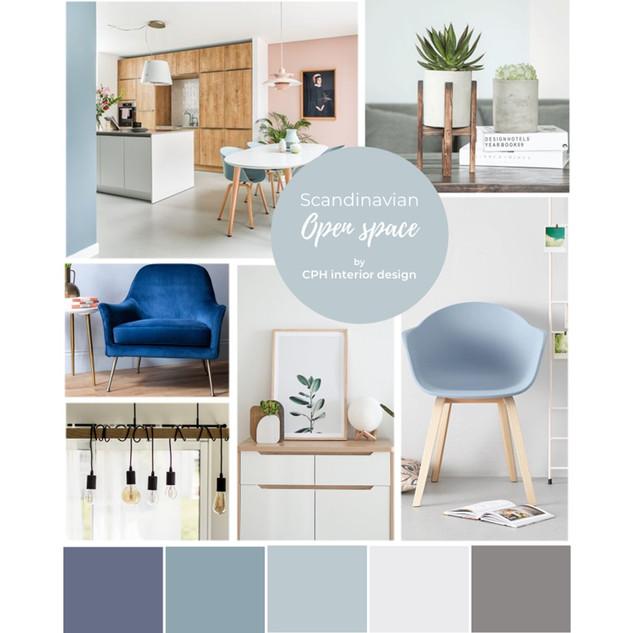 Open space Interior Design Moodboard Scandinavian