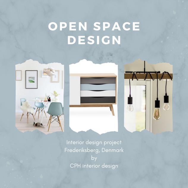 Mood board interior design open space