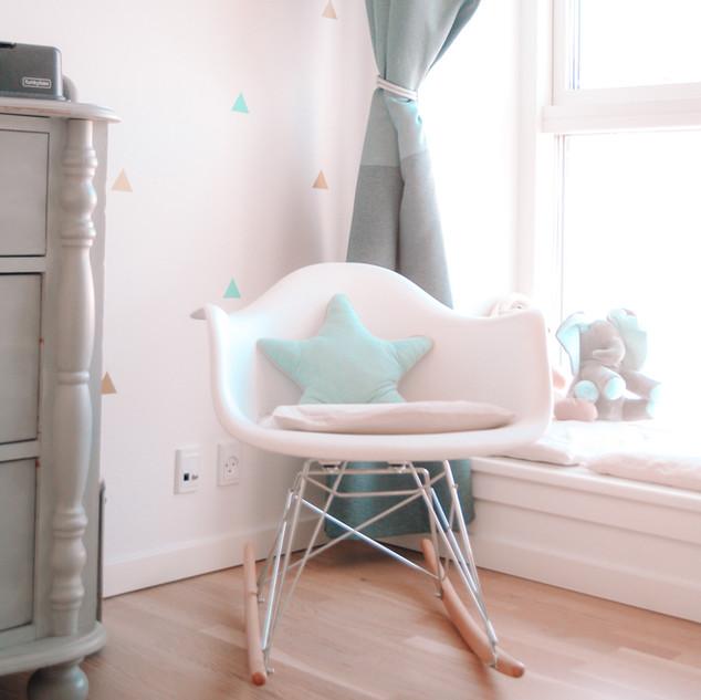 scandinavian nursery rocking chair
