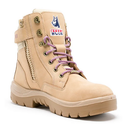 Steel Blue Ladies Southern Cross Lace Up Boot with Zip - Wheat