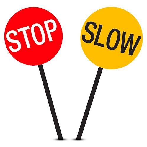 Stop/Slow batton wtih wooden handle
