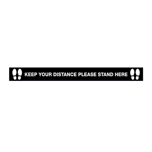 Keep your distance, please stand here floor graphic