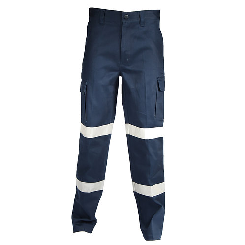 Cotton Drill Cargo Pants with Double Reflective Tape