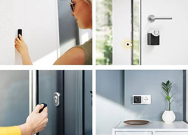 four images of Nuki smart lock componenents, the lock, the keypad, the fob and the wifi bridge