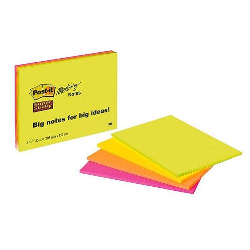 Post-it Meeting Notes | 4 Farben je 45 Blatt | 203 x 152 mm