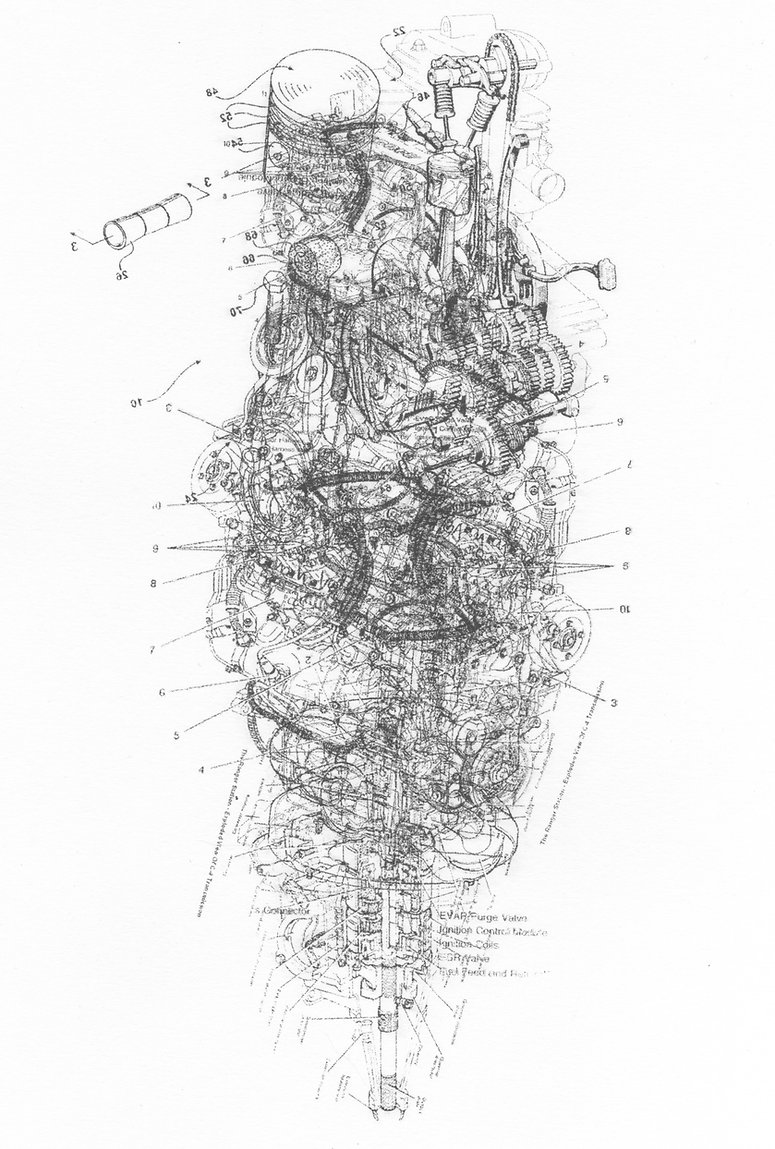 acetone printing technical drawing blueprints art colin barnes