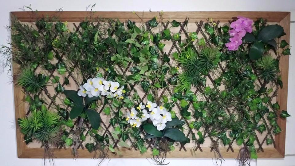 quadro jardim vertical samambaias, folhas verdes