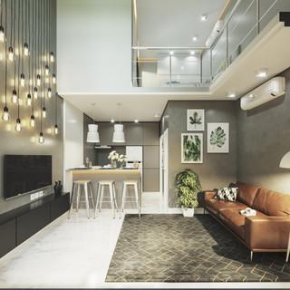 Sala de estar e mezanino