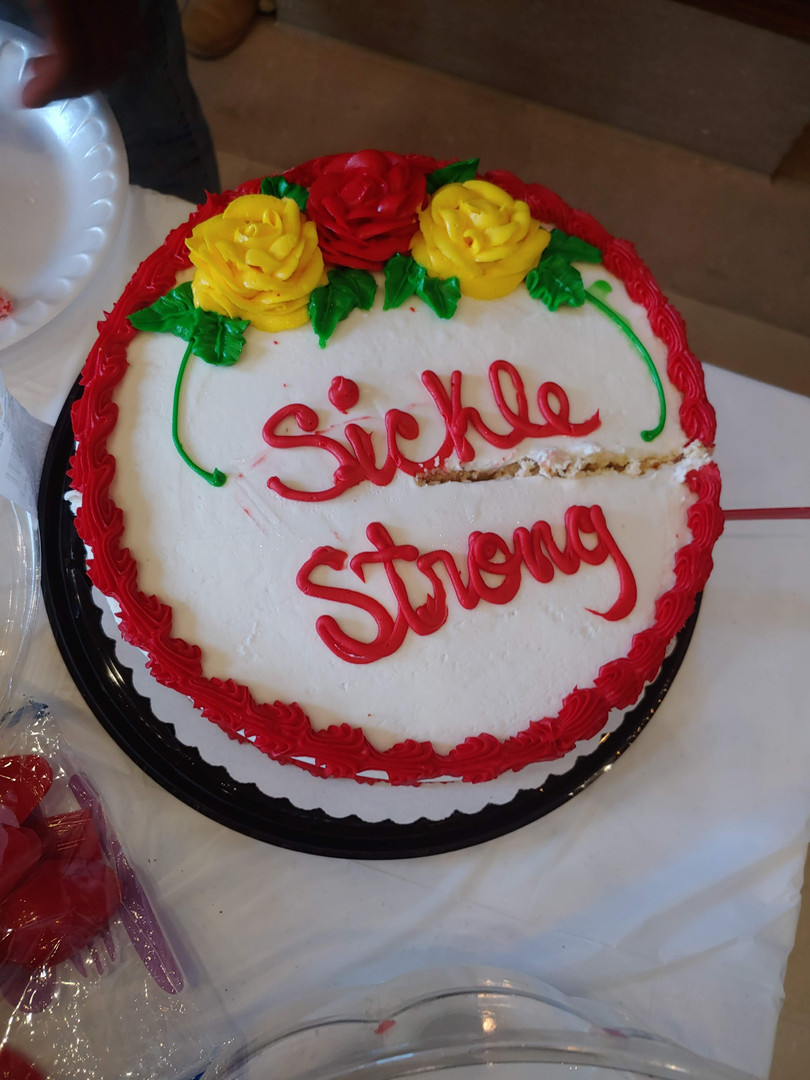 Cake from last Meeting (Insurance for those with Sickle Cell) before Covid19 hit!
