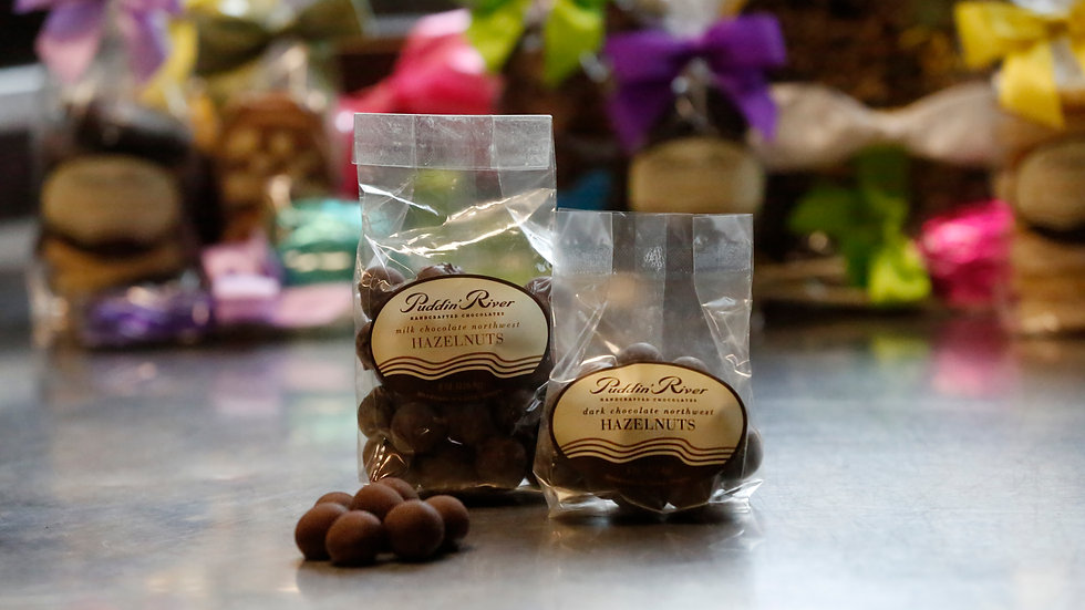 Chocolate Covered Hazelnuts - 8oz Dark Chocolate