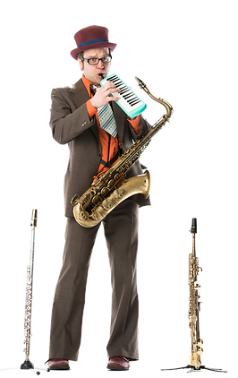 Klaus Widmer, Saxofon, Swiss Jazz Orchestra, Le Virage Dangereux, Strassenband, Buskers, Partyband, Kleinkunst, Feste, Quartierfeste Tenor- und Sopransaxofon, Stimme,Flöte, Melodica,Ukulele, Kazoo
