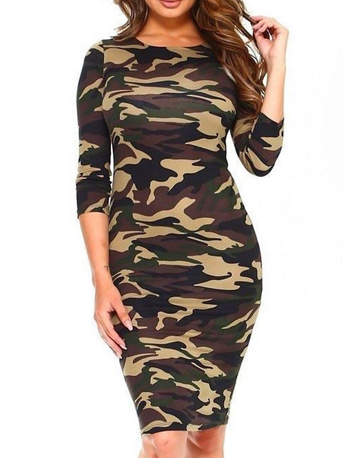 Camo Fitted Dress