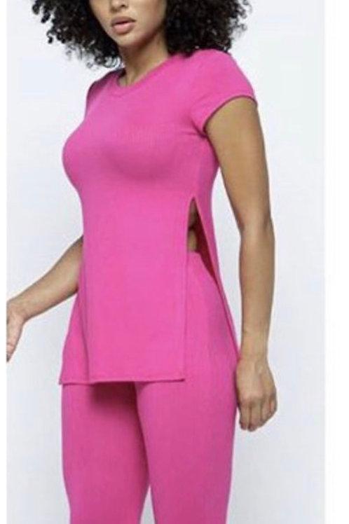 Pam Pink Ribbed Set w/Mask