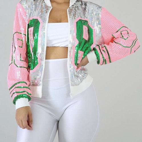 Pink & Green Sequins Jacket