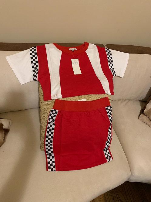 Red Checker Skirt Set