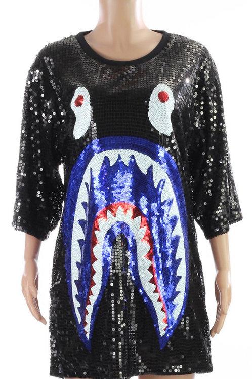 Black/Blue Shark Sequins Shirt/Dress