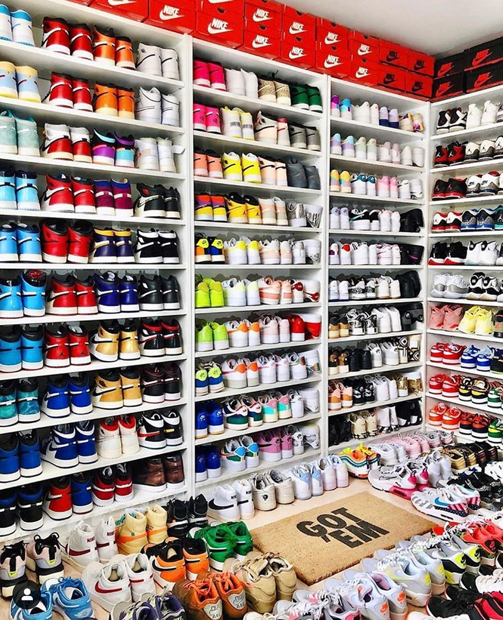 A sneaker room with shelves full of sneakers