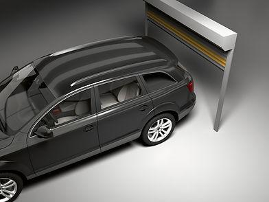 ROMAn alumiiniset autotallinovet, sälerullainovi-malli. Motorisoitu, kauko-ohjattava. Huoleton, yksinkertainen asentaa ja huoltaa!